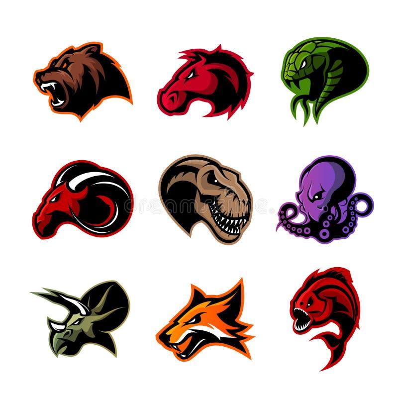 Björnen hästen, ormen, RAM, räven, piranhaen, dinosaurien, bläckfiskhuvud isolerade vektorlogobegrepp stock illustrationer
