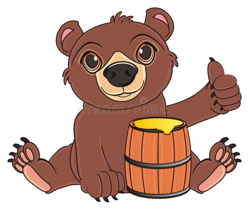 Björnen säger - jag älskar honung royaltyfri illustrationer