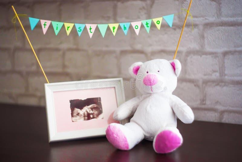 Björnen sitter bredvid ett foto av behandla som ett barn ultraljudet på en bakgrund för tegelstenvägg royaltyfri foto