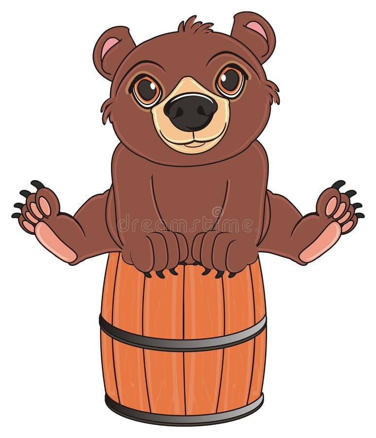 Björnen sitter på trumman royaltyfri illustrationer