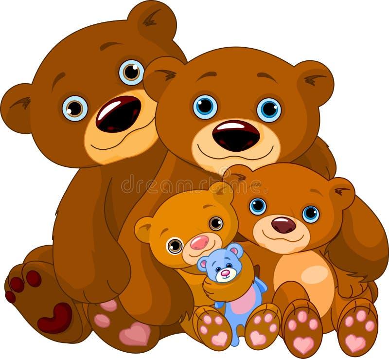 björnfamilj stock illustrationer