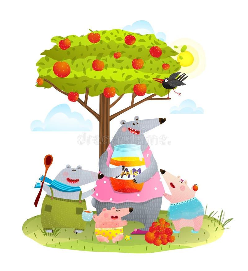 Björnfamiljmoder med ungar som äter Apple driftstopp vektor illustrationer