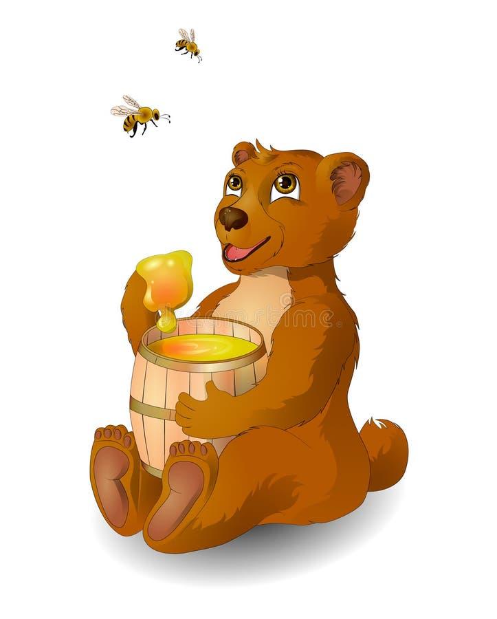 Björngourmet och bin stock illustrationer