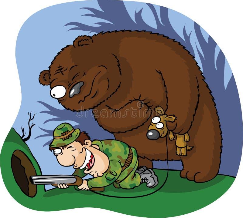 björnjägare royaltyfri illustrationer