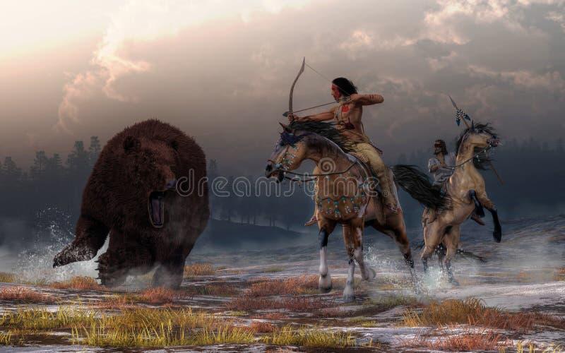 Björnjakt royaltyfri illustrationer