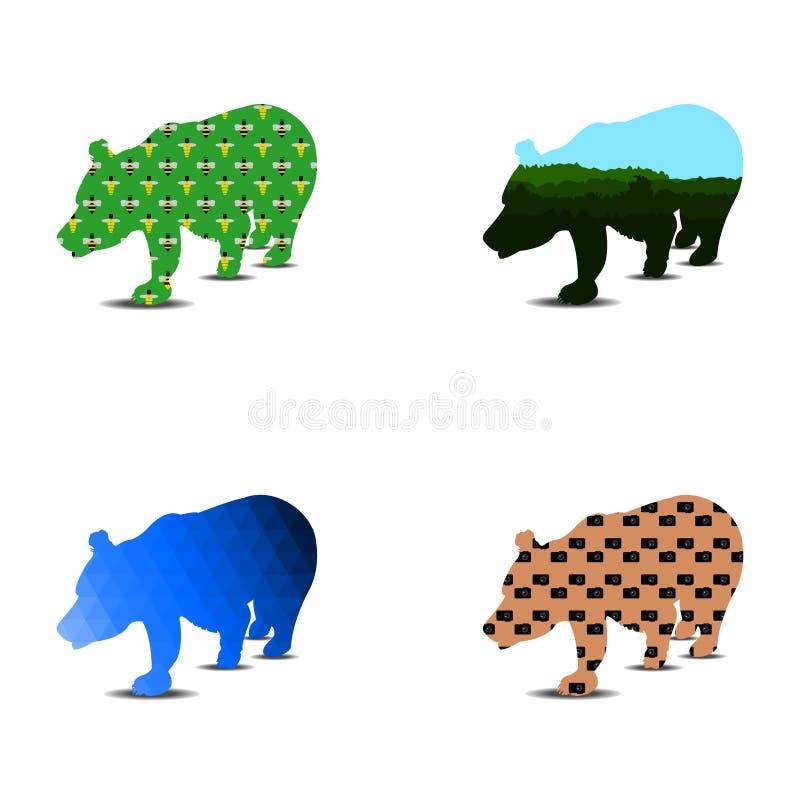 Björnkonturmodell En uppsättning av fyra stycken kan användas som en logotumnagel vektor stock illustrationer