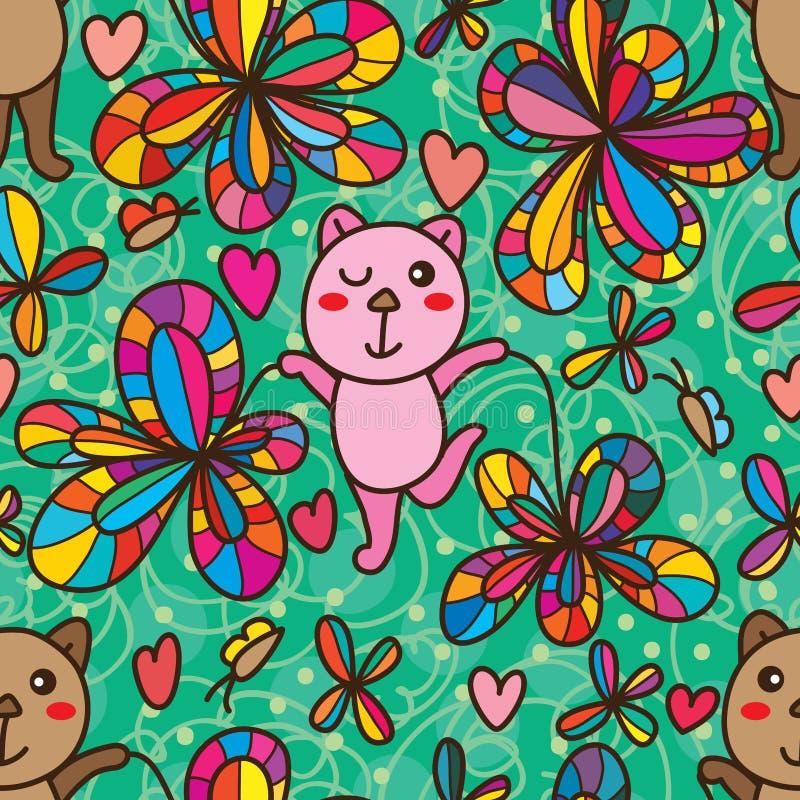 Björnlek med den sömlösa modellen för blomma vektor illustrationer