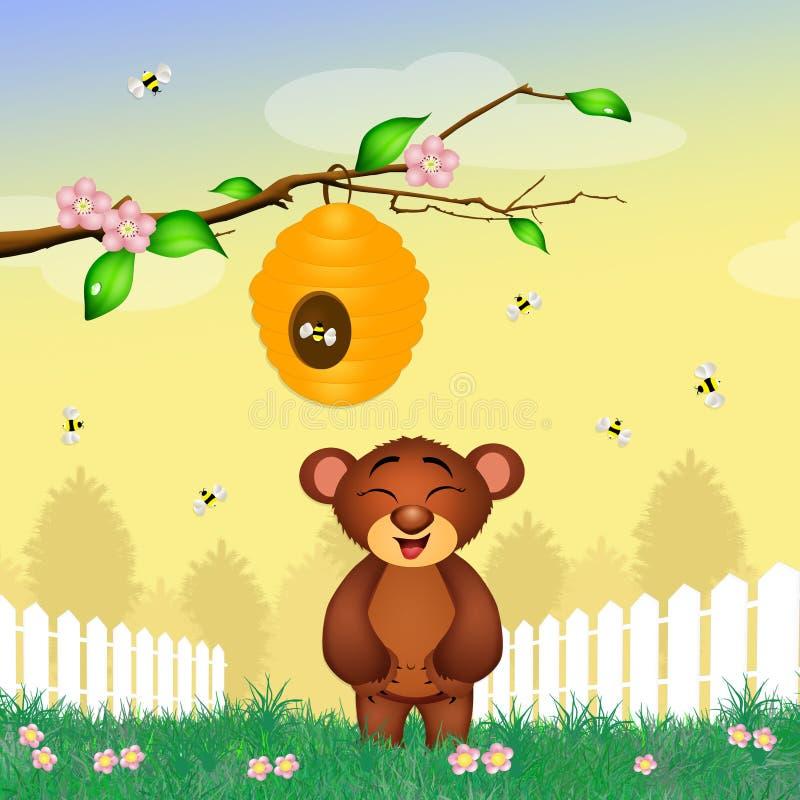 Björnlekar med bin stock illustrationer