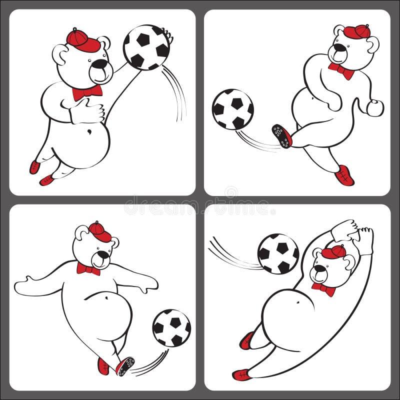 Björnlekfotboll Humoristisk illustrationuppsättning för tecknad film stock illustrationer
