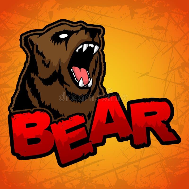 Björnlogo på en gul bakgrund stock illustrationer