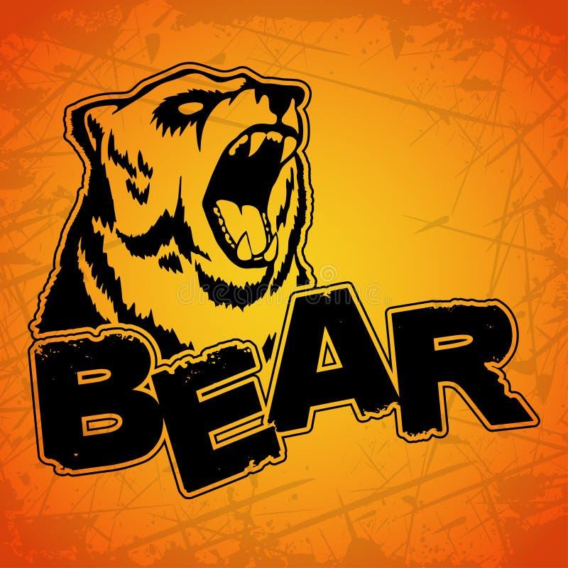 Björnlogo på en gul bakgrund royaltyfri illustrationer