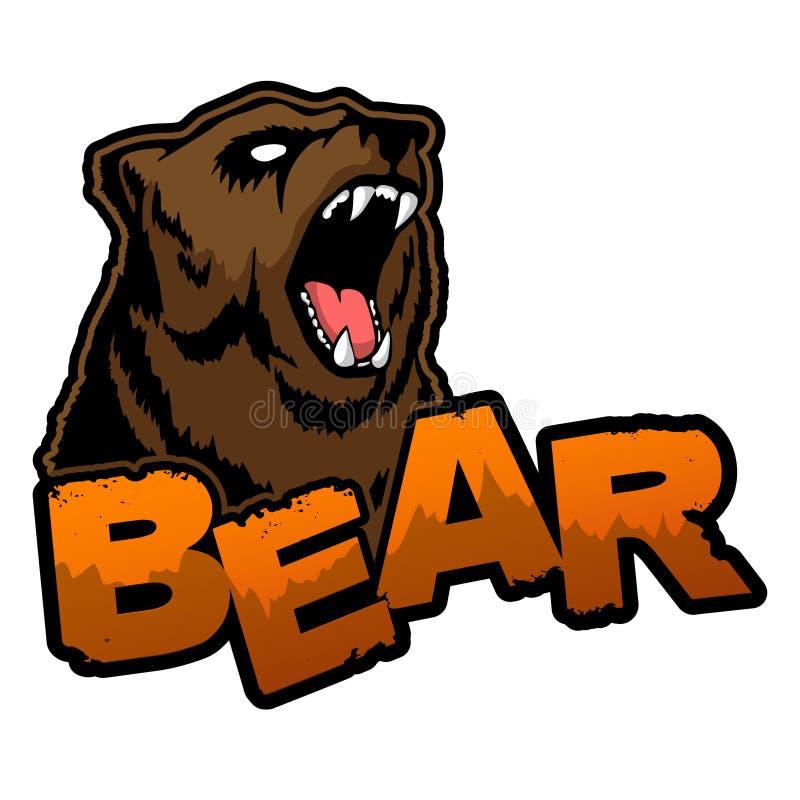 Björnlogo på en isolerad vit bakgrund stock illustrationer