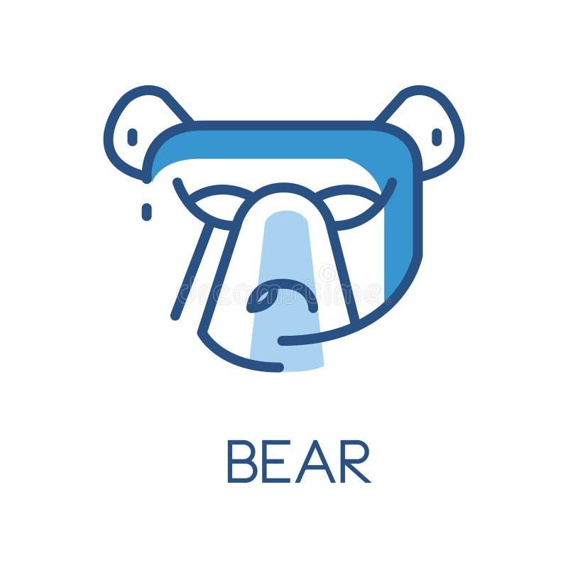 Björnlogodesignen, blått märker, emblemet eller emblemet med huvudet av den djura vektorillustrationen för björnen på en vit bakg stock illustrationer