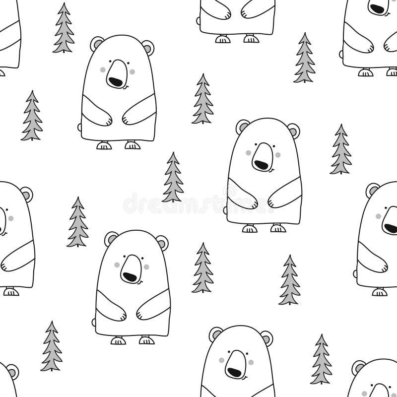 Björnmodelldesignen med sörjer trädet royaltyfri illustrationer