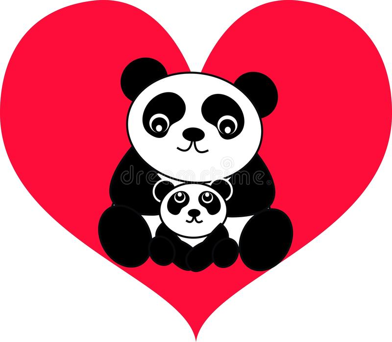 björnpanda stock illustrationer