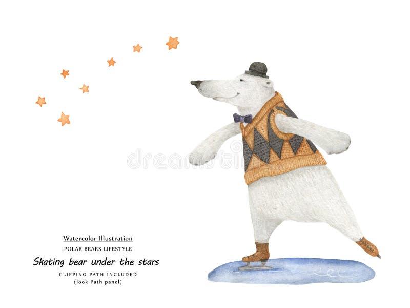 Björnskridsko under stjärnorna, närbildillustration royaltyfri illustrationer