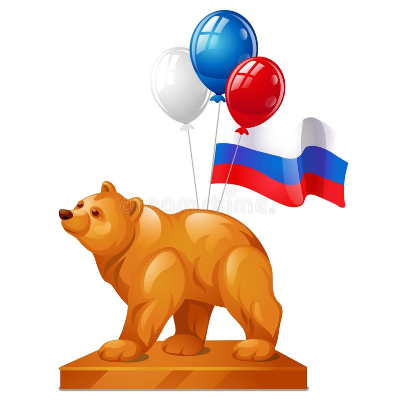 Björnstatyn är ett symbol av makt, färgrika ballonger, och flaggan av Ryssland isolerade på vit bakgrund vektor royaltyfri illustrationer