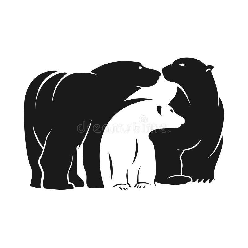 Björnteckenlogo royaltyfri illustrationer