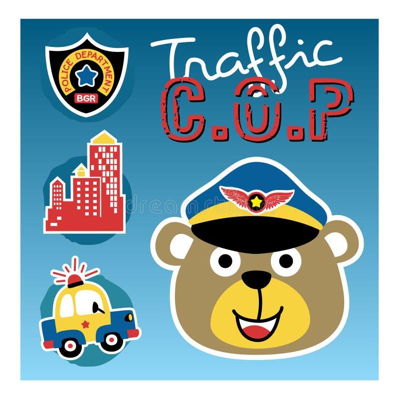 Björntecknad film den roliga trafiksnuten vektor illustrationer