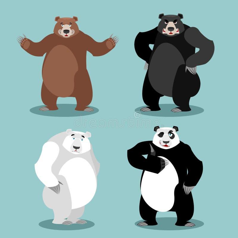 Björnuppsättningavel Grisslybjörn och panda Baribal amerikansk svart björn stock illustrationer