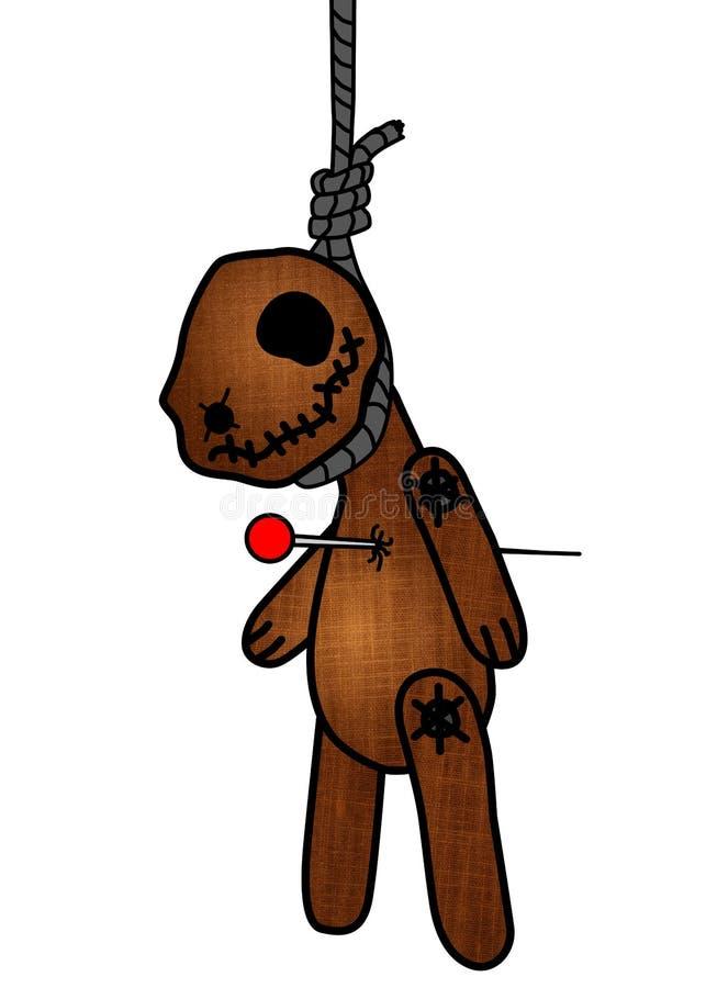 Bj?rn f?r voodoo f?r allhelgonaaftonfasaandlighet kelig, docka som punkteras av ben/tr?ngt igenom h?nga p? galgen ?versikter kont royaltyfri illustrationer