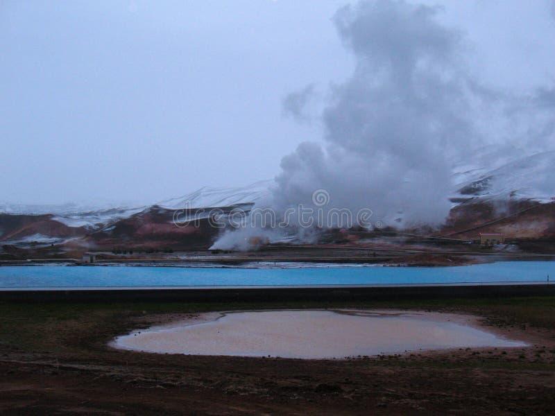 Bjarnarflag, geothermisch Ijslands landschap stock foto's