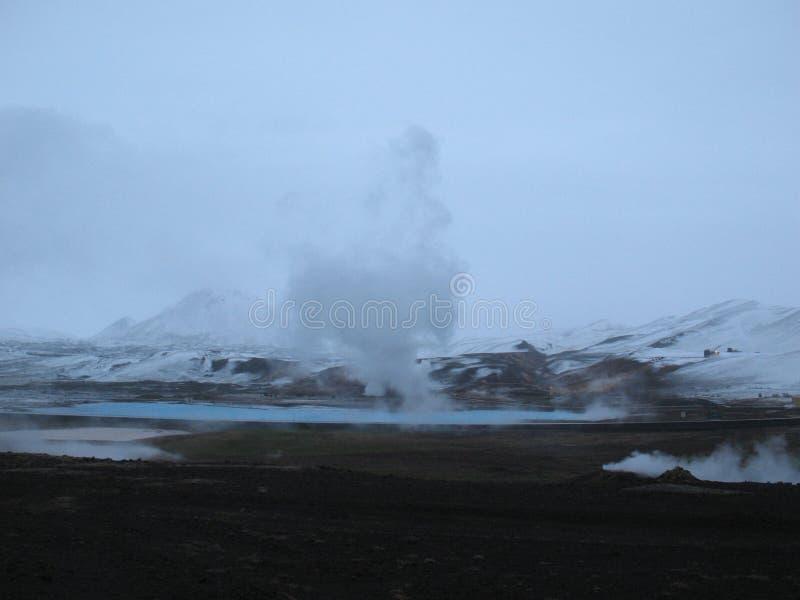 Bjarnarflag, geothermisch Ijslands landschap stock fotografie