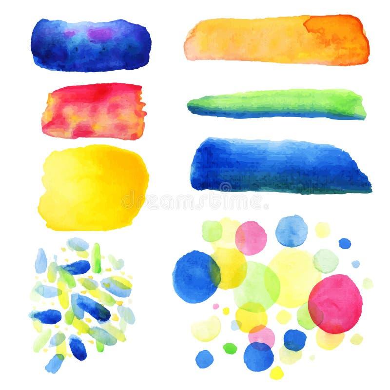 Bläckar den abstrakta handen drog vattenfärgen ner bakgrund också vektor för coreldrawillustration härliga färgrika vattenfärgcir stock illustrationer