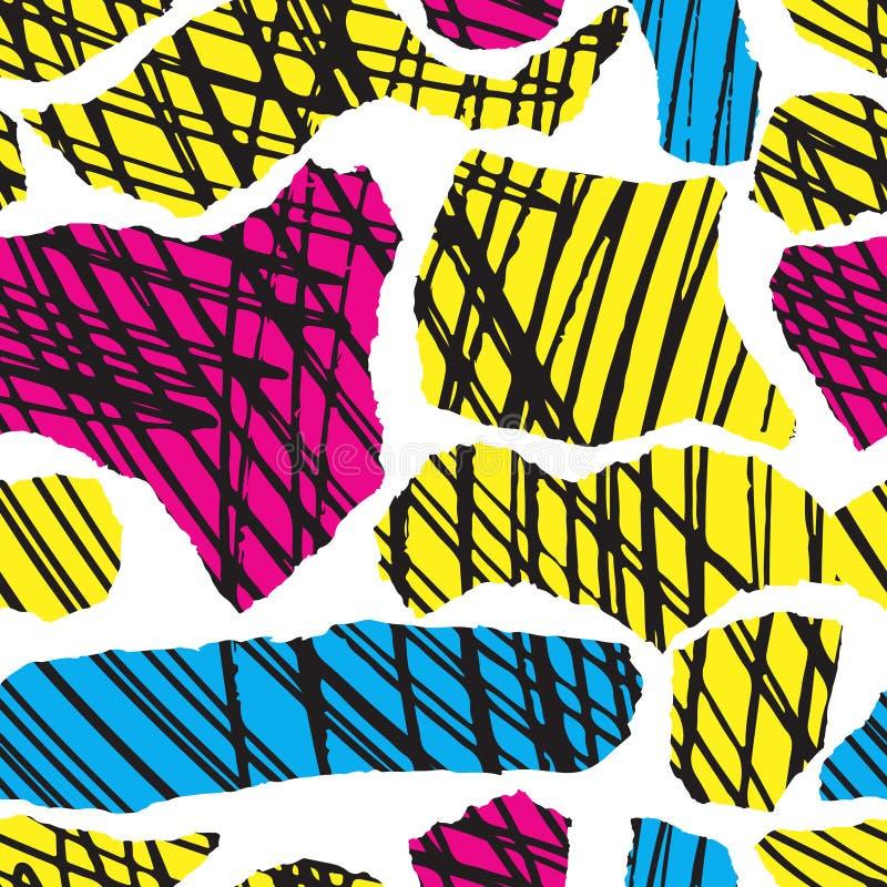 Bläckar den färgrika sömlösa modellen ner för vektorn med borsten och slaglängder Färg för svart för rosa färgblåttguling på vit  royaltyfri illustrationer