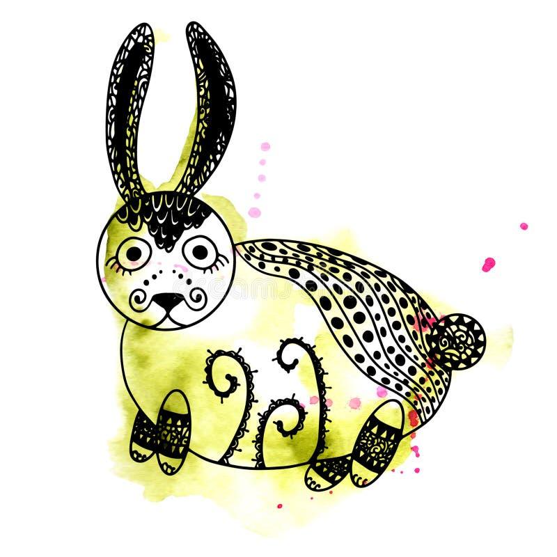 Bläckar plaskar den magiska skogvattenfärgen ner för den abstrakta ovanliga gulliga kaninen och den svarta linjen konstkontur vektor illustrationer