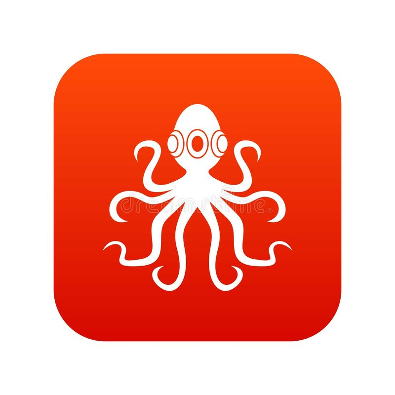 Bläckfisk digitalt rött för symbol stock illustrationer