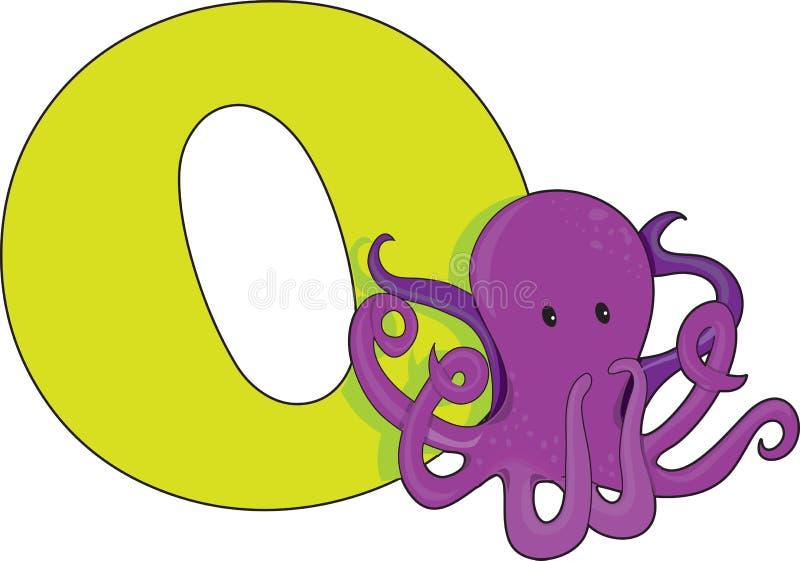 bläckfisk för bokstav o royaltyfri illustrationer