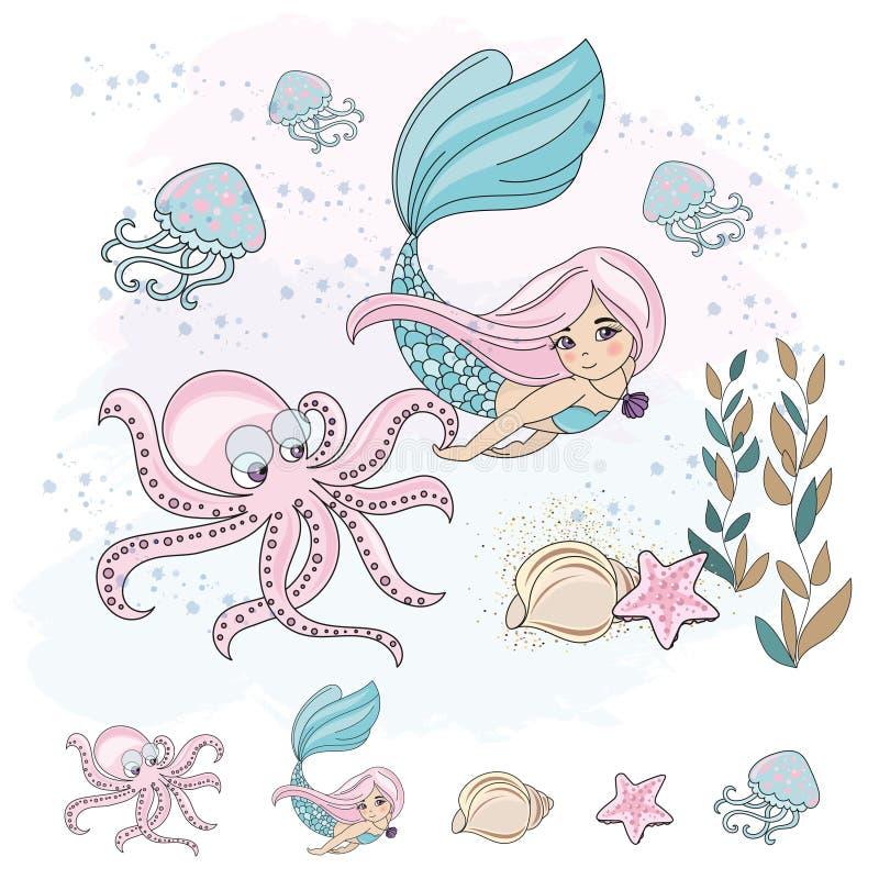 BLÄCKFISK för SJÖJUNGFRU för skolaAutumn Sea Underwater Vector Illustration uppsättning vektor illustrationer