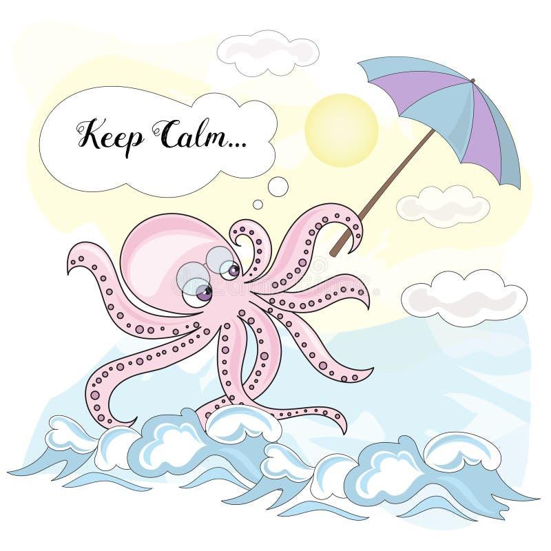 BLÄCKFISK för STILLHET för skolaAutumn Sea Underwater Vector Illustration uppsättning stock illustrationer