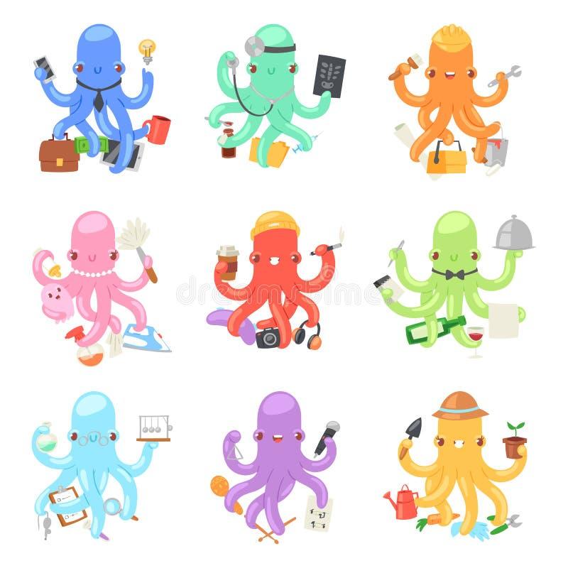 Bläckfisk i tecken för octopi för affärsvektorillustration av den affärsmankonstruktörn eller hemmafrun som gör åtskilliga uppgif vektor illustrationer