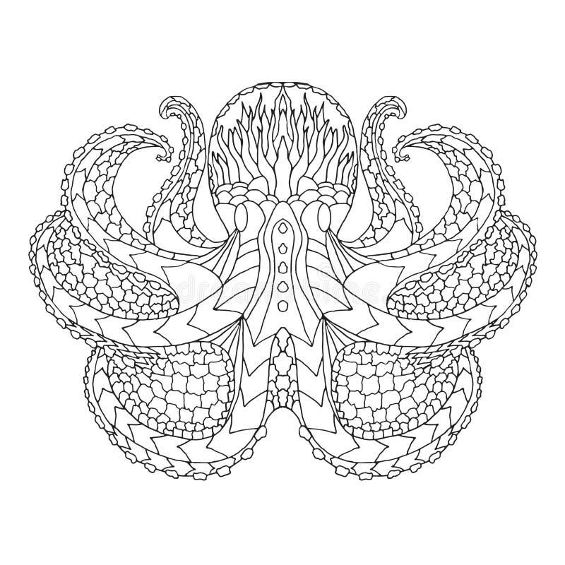 bläckfisk Mönstrad vektorillustration för person som tillhör en etnisk minoritet royaltyfri illustrationer