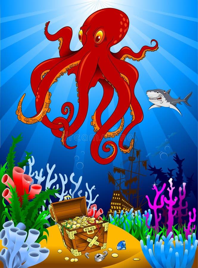 Bläckfisk och skatter vektor illustrationer