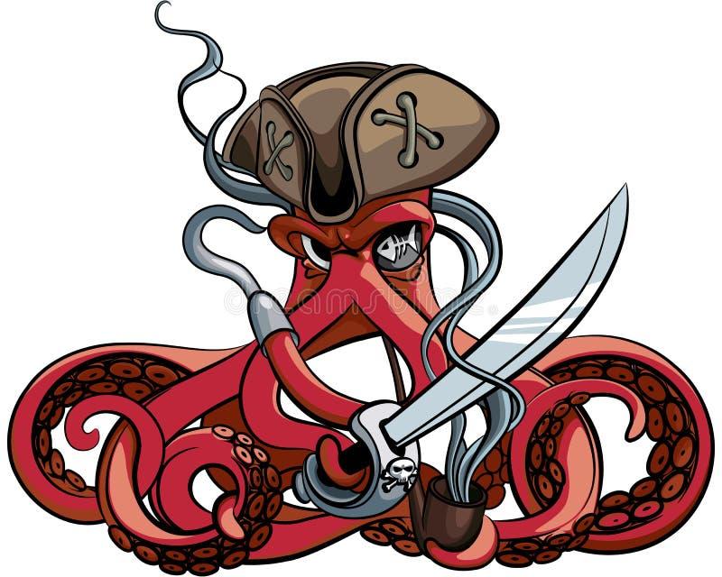Bläckfisk piratkopiera vektor illustrationer
