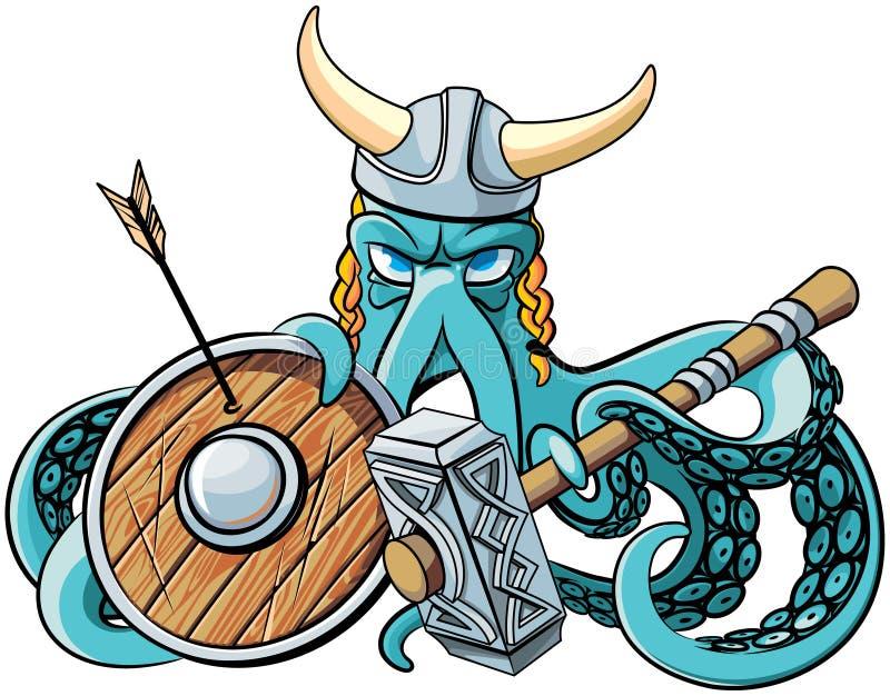 Bläckfisk Viking royaltyfri illustrationer