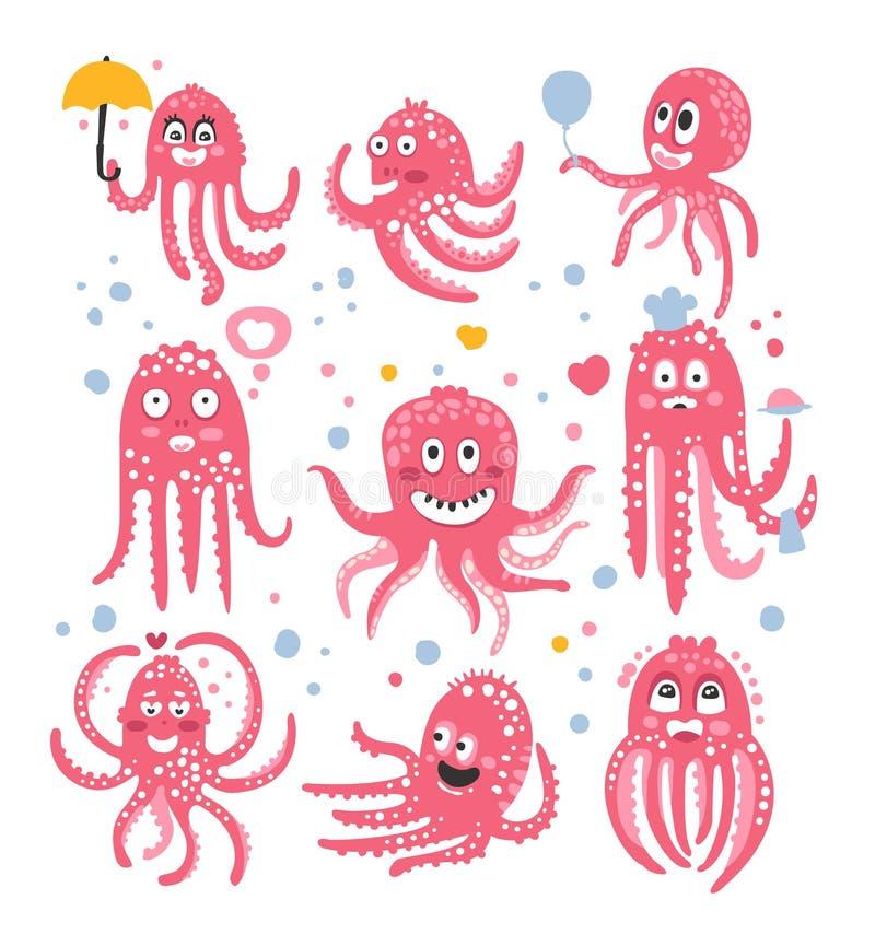 BläckfiskEmoticonsymboler med den roliga gulliga tecknade filmen Marine Animal Characters In Love och uttrycka olika sinnesrörels vektor illustrationer