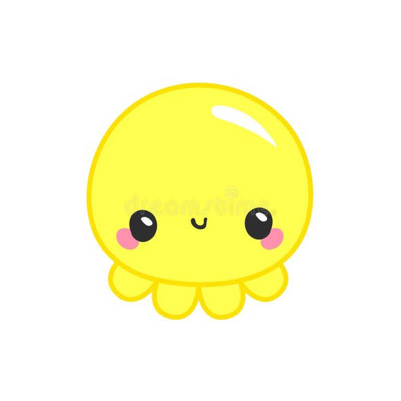 Bläckfiskgyckellogo Behandla som ett barn och lurar gods Kawaii behandla som ett barn bläckfisken på vit bakgrund Förtjusande blä vektor illustrationer
