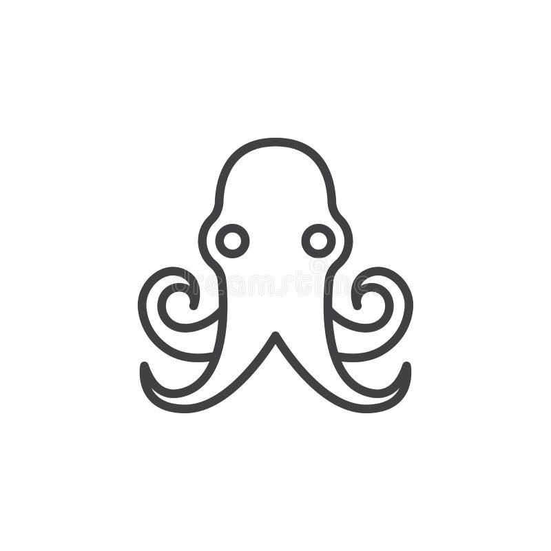 Bläckfisklinje symbol, översiktsvektortecken, linjär pictogram som isoleras på vit vektor illustrationer