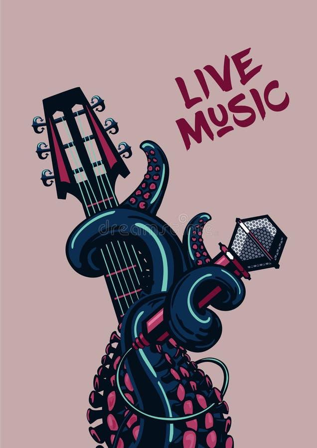 Bläckfiskmusiker Live musik Vagga affischen med en gitarr, en mikrofon och tentakel stock illustrationer