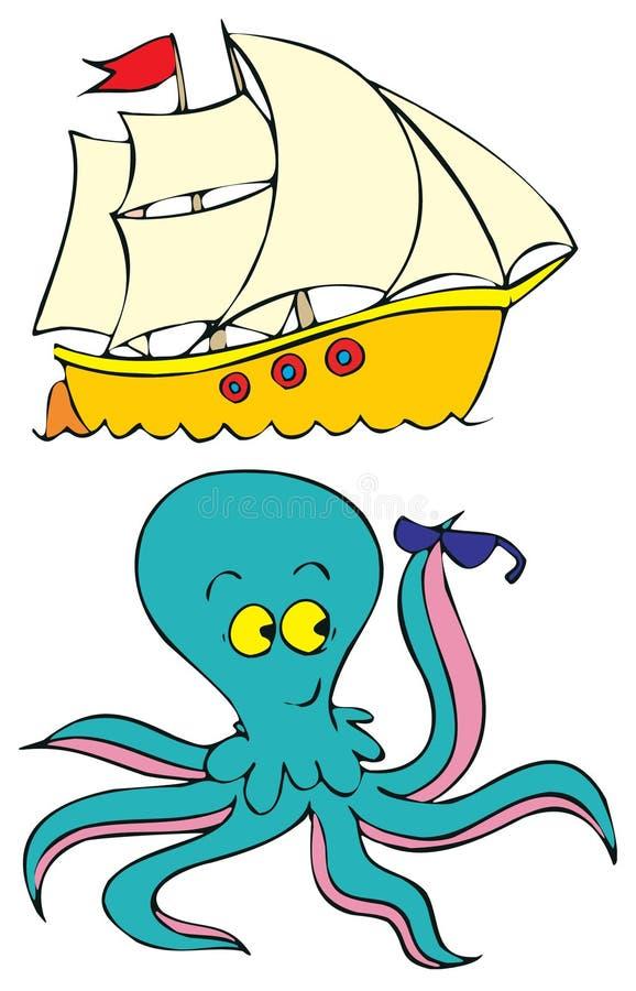 bläckfiskship stock illustrationer