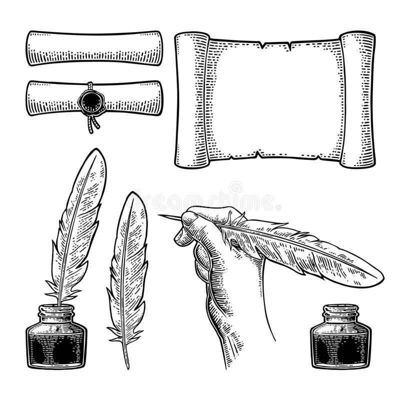 Bl?ckhorn, snirkel och kvinnlig fj?der f?r handinnehavg?s Vektorgravyr stock illustrationer