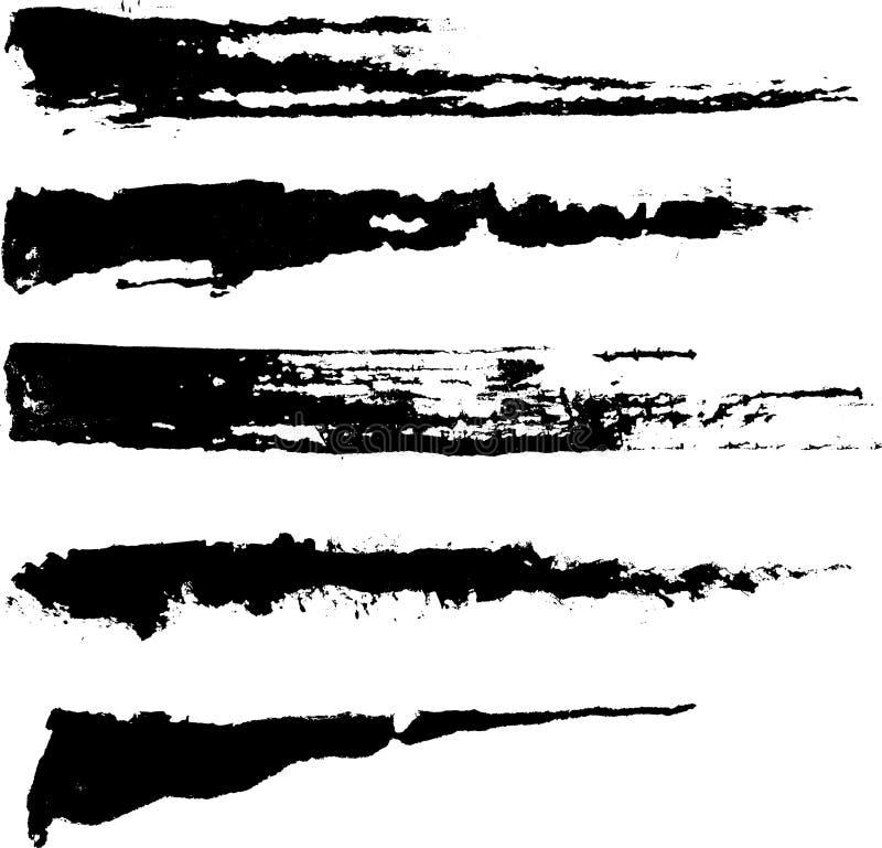 bläckiga ungefärliga slaglängder för borste vektor illustrationer