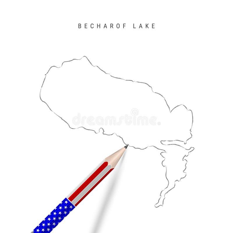 Bläckskiss för Becharof Lake-vektorkarta Konturkarta för Becharof Lake med penna i amerikanska flaggfärger royaltyfri illustrationer