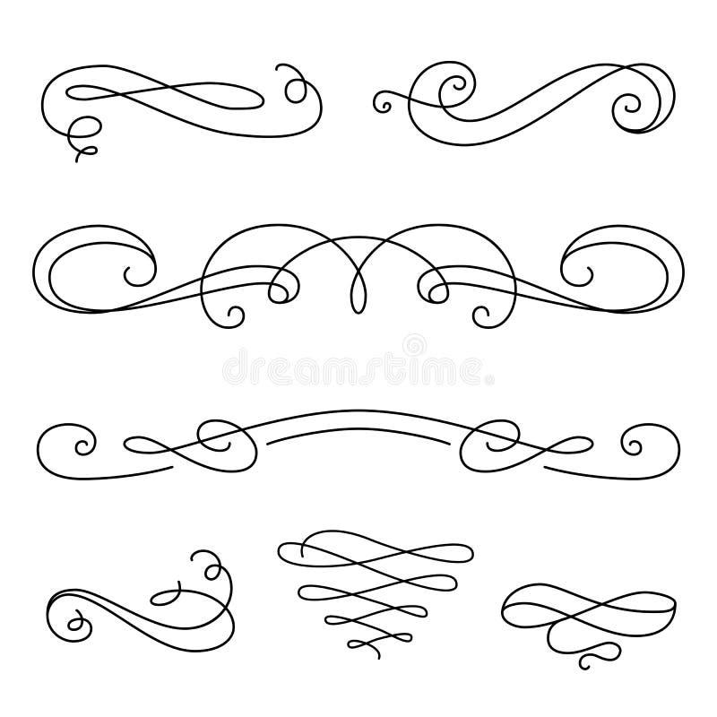 Bläddra beståndsdelar, uppsättning av calligraphic karaktärsteckningar för tappning arkivfoton