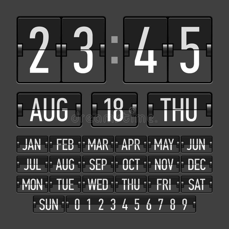 Bläddra klockamallen med tid, datumet och dag royaltyfri illustrationer
