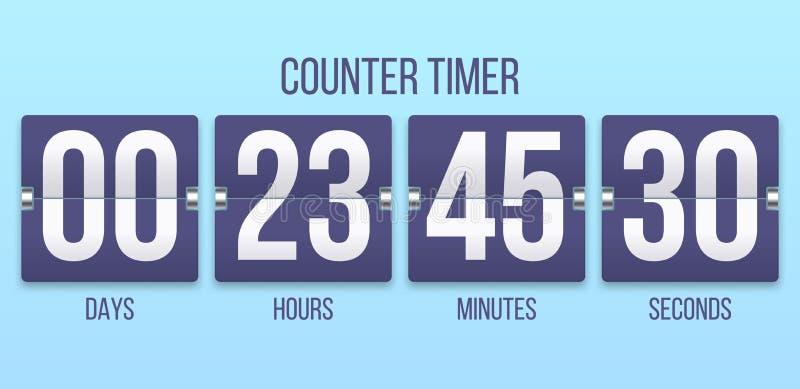 Bläddra klockatidmätaren Dagar för nedräkningräknare och att räkna timmar och minutnummer Illustration för Flipclock tidmätarevek vektor illustrationer
